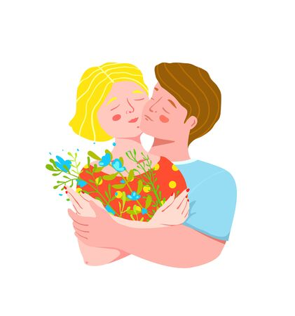 Young lovers couple hugging holding wild flowers, gentle and romantic feelings design.