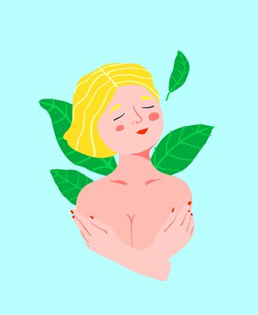 Girl naked embracing her breast romantic and relaxed modern vintage illustration. Female alone face with eyes closed. Illustration