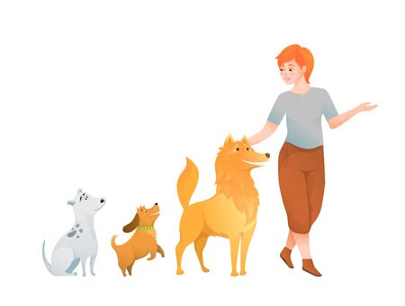 Woman dog lover, owner walking with tree dogs, dog and puppy care lady cartoon design. Çizim