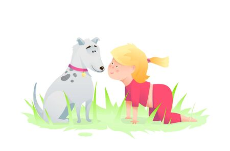 Excited baby girl crawling nose to nose playing with friend puppy curious adorable kids cartoon.