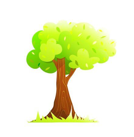 Cartoon hand drawn tall old tree design element. Oak standing alone seasonal summer bushy foliage watercolor style.