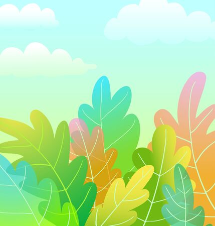 Kids Magic Forest Cartoon artistic background design with clouds in the blue sky, watercolor stylised.
