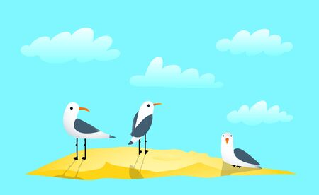 Seagulls Sand and Clouds marine clip art cartoon, isolated objects on naval blue background.