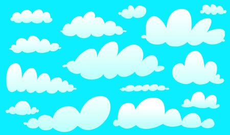 Cartoon clouds collection isolated on blue. Cute kids watercolor style sky clip art collection.