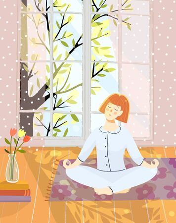 Woman or young girl meditating doing yoga at home in room with nature in big window, relaxing eyes closed. Vector artistic vector interior drawing.