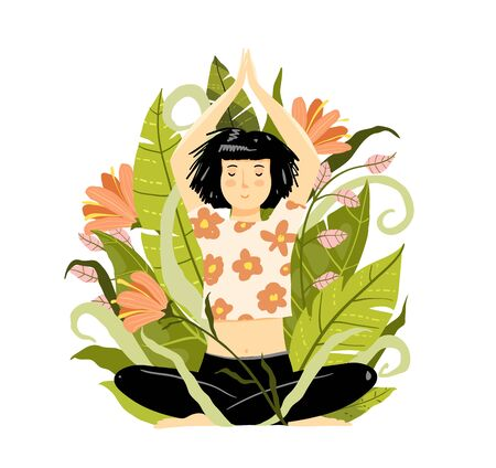 Brunette young girl or woman meditation practice in nature. Flat hand drawn lady sitting in lotus yoga pose. Girlish cartoon vector illustration.