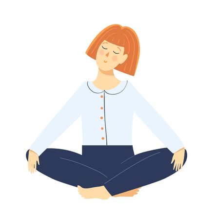 Young woman meditating sitting in yoga lotus pose, relaxing girl cartoon. Hand drawn flat clipart vector graphic design. Vektorové ilustrace