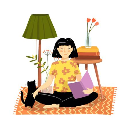 Young girl or woman sitting on the floor rug at home reading a book in comfortable cozy apartment with kitten, flowers and plants. Vector interior design.