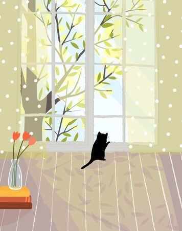 Cozy romantic living room with bright light and kitten looking in window. Empty indoor interior design homey accommodation vector hand drawn design.