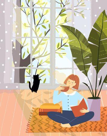 Woman leisure reading book in cozy flat apartement interior design with big nature window. Vector cartoon hand drawn artistic design.