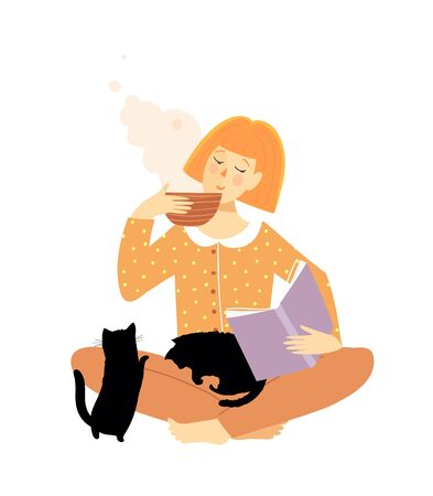 Pretty young woman reading book and drinking tea or coffee with cats. Cozy and comfortable artistic vector drawing of relaxation and study peaceful everyday life.