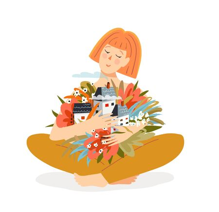 Woman sitting hands hugging houses with flowers. Home feeling, relaxation in neighbourhood, loving embracing country and flowers. Hand drawn vector flat design.