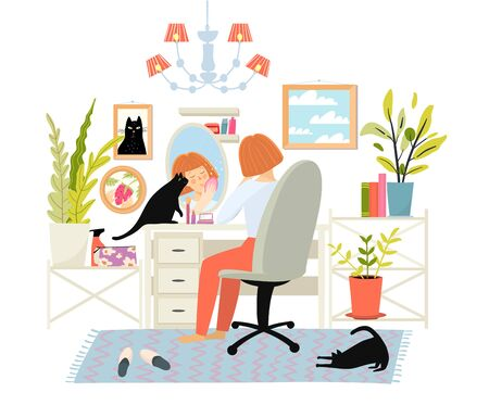 Pretty young woman applying daily makeup, or doing facial care everyday routine. Girl sitting on chair near dressing table, oval mirror with face reflection and fat cat at home, vector picture.