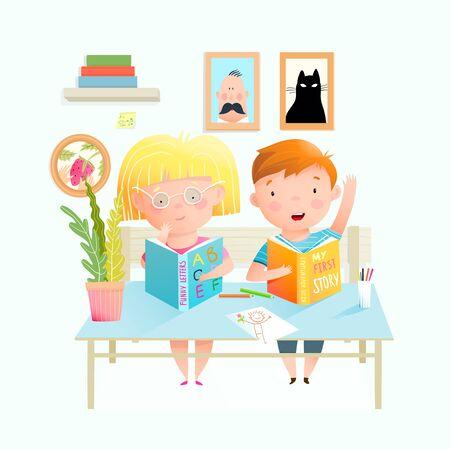 Children at the desk studying in the classroom, kids boy and girl reading books, doing homework or exam. Cute little preschooler kids at school interior or kindergarten. Vector cartoon.