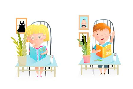 Elementary school children, classmates sitting at the desk, studying, reading books. Girl thinking and a boy answer question. Classroom with kids illustration. Watercolor style vector cartoon.