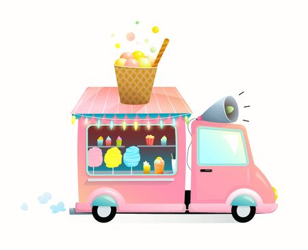 Sweet food shop on wheels, cute funny truck moving on the road, selling candy cotton, ice cream, sweets and desserts. A car vending street food for children. Vector watercolor style cartoon for kids.