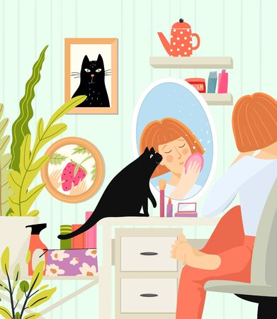 Woman closeup sit at cosmetic table with reflection in mirror doing makeup or face care everyday girly beauty routine. Lady cozy room interior and everyday morning facial ritual. Flat vector design. Ilustração