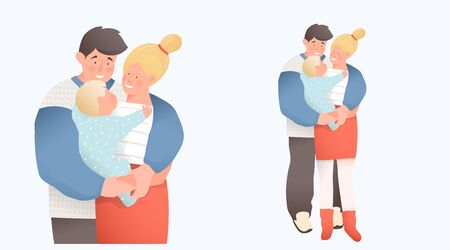 Young couple parents hugging holding a newborn baby. Family concept, mother and father holding a baby. Vector flat cartoon design. Vettoriali