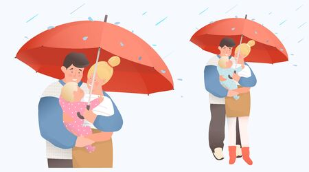 Young couple parents hugging holding a newborn baby and umbrella. Family protection and medical insurance concept, mother and father holding a baby. Vector flat cartoon design.