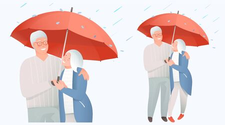Elderly retired couple support and protection, insurance concept. Medical support and safety for mature and old people, grandpa and grandma couple holding umbrella. Vector flat illustration