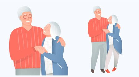 Elderly retired couple in love hugging embracing. Insurance, medical support and safety for mature and old people, grandpa and grandma in love sweet couple concept. Vector flat. illustration Illustration