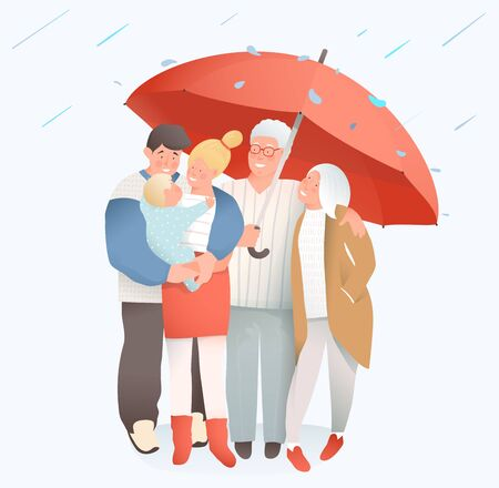Family under rain holding big umbrella. Mother and father, grandfather and grandmother, family hugging together with baby child. Concept vector illustration, family protection, safety and insurance. Illustration