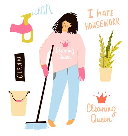 Sad woman or girl cleaning floor with a broom. Hate doing housework, funny housekeeper hand drawn objects and cleaning quotes hand drawn lettering design. Vector illustrations collection.