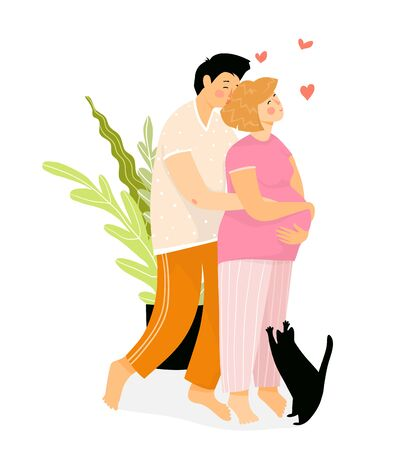 Pregnant couple in love hugging, young and happy future parents at home kissing. Pregnant woman with baby bump and a man. Vector flat hand drawn design.