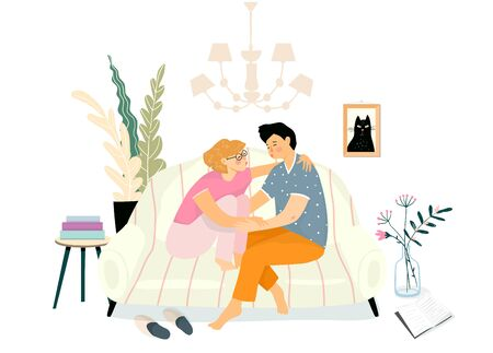 Young couple hug love scene sitting on the couch or sofa and kissing. Everyday people lives, girlfriend and boyfriend romantic evening at home. Vector hand drawn design. Ilustracja