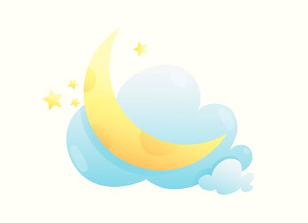 Moon stars and clouds cute kids cartoon illustration. Baby print design, wall decoration or decal cartoon. Good night sweet dreamy design. Vector isolated clipart.