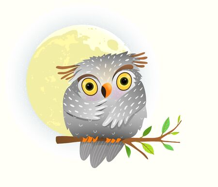 Cute owl sitting on the branch at full moon and starry sky, sweet baby bird eyes wide open at night. Watercolor style vector cartoon illustration for kids room decoration or nursery art.