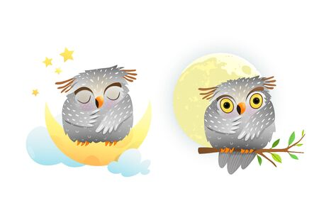 Cute owl sleeping sitting on the moon and night starry sky. And baby owl watching full moon sitting on tree. Watercolor style vector cartoon illustration for kids room decoration or nursery art. Illustration