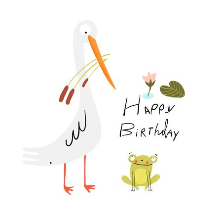 Funny cute birthday card with white swamp bird and baby frog in the lake, cute smiling animals for children. Heron holding reeds bouquet, and little frog picture. Vector doodle design. Illustration