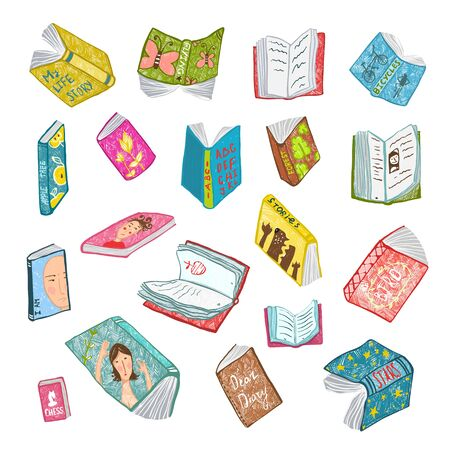 Big set of hand drawn brightly colored literature covers illustration. Фото со стока