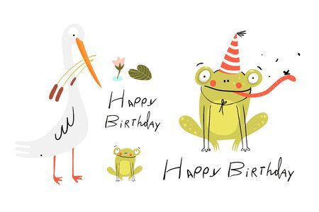 Funny cute birthday card with baby frog wearing party hat, white swamp bird and baby frog. Happy Birthday lettering hand drawn doodle design. Vector kids cartoon illustration.