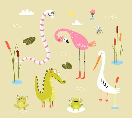 Funny swamp animals and birds, reptiles and nature. Pond living animals snake, crocodile, frogs, flamingo, duck or heron with reeds and cane. Clipart collection for kids. Funny cute print design.