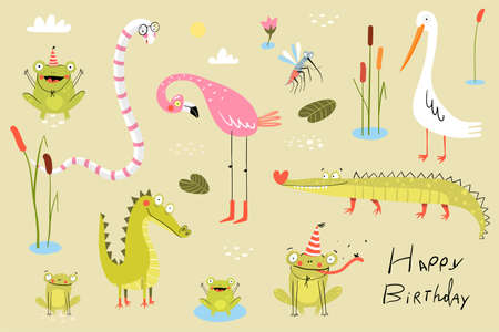 Funny swamp animals, birds, reptiles and nature items collection. Pond living animals snake, crocodile, frogs, flamingo, duck or heron with reeds and cane. Clipart collection for kids.