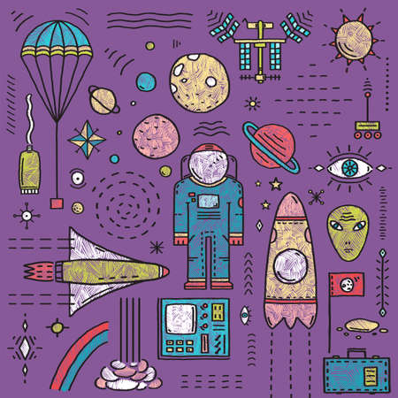 Cosmic objects designer outline kit in black lines, and colors, hand drawn sketchy flat elements. Vector illustration.  Stock Photo