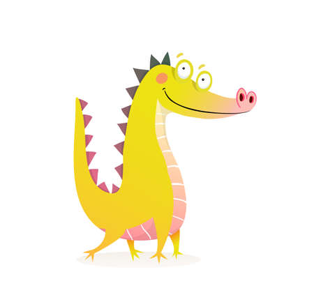 Imaginary animal crocodile character design. Mischievous posing alligator or dragon funny design for kids. Watercolor style cartoon vector illustration.