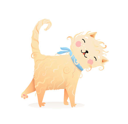 Cute curly fur cat or kitten purr cartoon, domestic kitty animal illustration for children, kind and friendly kids picture. Watercolor style vector graphic. Illustration