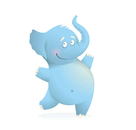 Cheerful jumping baby blue Elephant character for kids. Cute happy elephant animal adorable drawing for kids. Watercolor style cartoon vector illustration Illustration