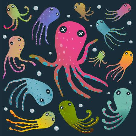 Under the sea marine life cute cartoon illustration on dark. Vector EPS10.