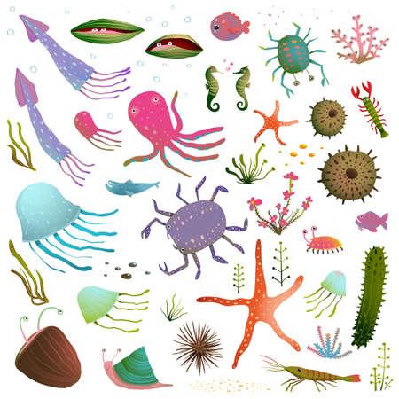 Under the sea marine life cute cartoon illustrations set. Vector EPS10.