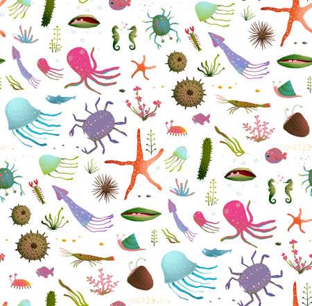 Childish underwater animals cute backdrop tileable design illustration. Vector EPS10 has no backdrop color.