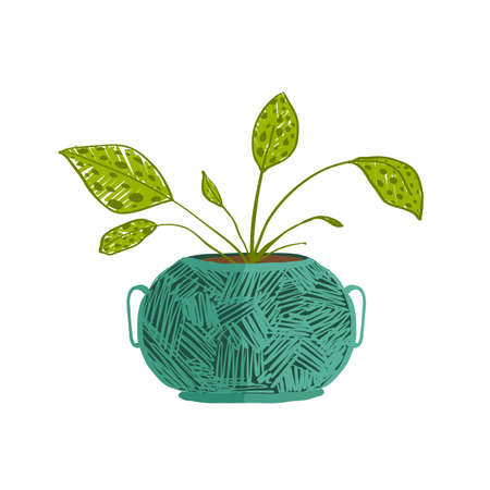 Leaf and house gardening, flowerpot and flora isolated object, houseplant design vector illustration