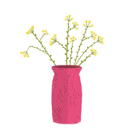 House decoration, wild flowers in vase isolated object, flower design vector illustration Standard-Bild
