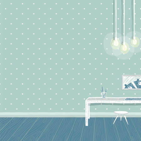 Bedroom for kid, childhood and furniture, teddy bear and interior. Empty wall for your design. vector illustration.