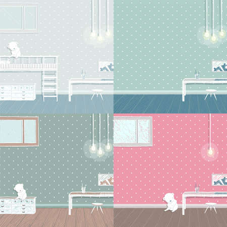 Kids bedroom collection. Bedroom for kid, childhood and furniture, teddy bear and interior, vector illustration.