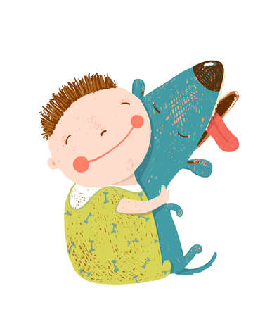 Child happiness with friend animal, vector illustration.