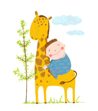 Happy friend, child and animal, vector illustration